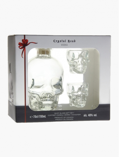 Vodka Crystal Tête + 2 Verres VP 70 cl U - Coffret 2 verre